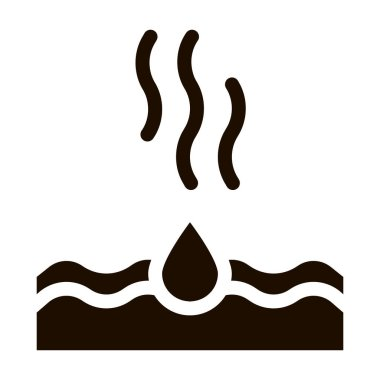 Drop Water Dripping In Sea Vector Icon. Acid Rain Dripping In Ocean Environmental Pollution, Chemical, Radiological Contamination Pictogram. Contour Illustration icon