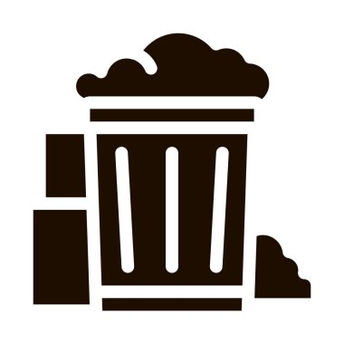 Container With Rubbish Trash Vector Icon. Container With Refuse Garbage Materials Environmental Pollution, Chemical Pictogram. Dirty Soil, Water, Air Contour Illustration icon