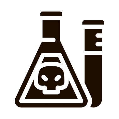 Flask With Chemical Liquid Vector Icon. Chemical Toxic Poison In Container Environmental Pollution, Radiological Contamination Pictogram. Contour Illustration icon