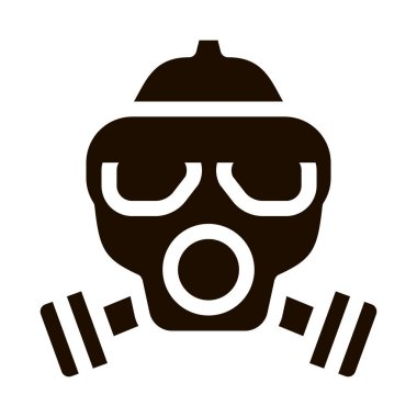 Safe Life Gaz Dirty Air Mask Vector Icon. Air Environmental Pollution, Chemical, Radiological Contamination And Co2 Pictogram. Ecosystem Contour Illustration icon