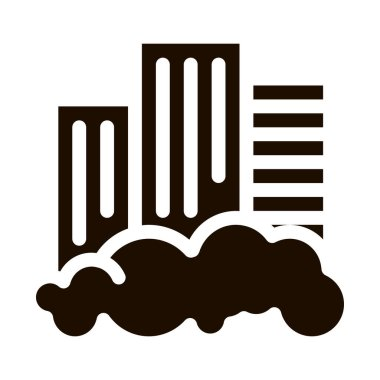 Building Skyscraper And Smog Vector Icon. City Town Environmental Pollution, Chemical, Industrial Smog Pictogram. Dirty Soil, Water, Air Contour Illustration icon