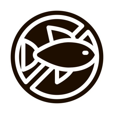 Allergen Free Sign Seafood Vector Icon. Allergen Free Sea Food Pictogram. Crossed Out Mark With Seafood Sardine Scomber Healthy Produce. Black And White Contour Illustration icon
