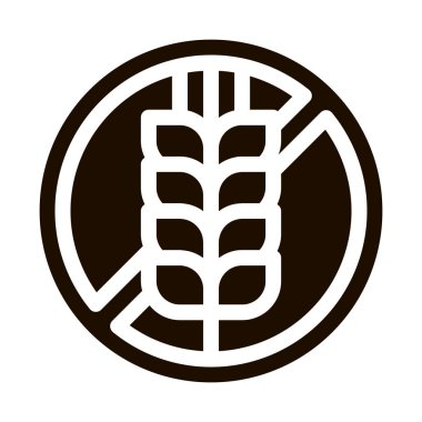 Allergen Free Sign Wheat Vector Icon. Allergen Free Gluten Agricultural Food Pictogram. Crossed Out Mark Spike Rye Eco Healthy Produce. Black And White Contour Illustration icon