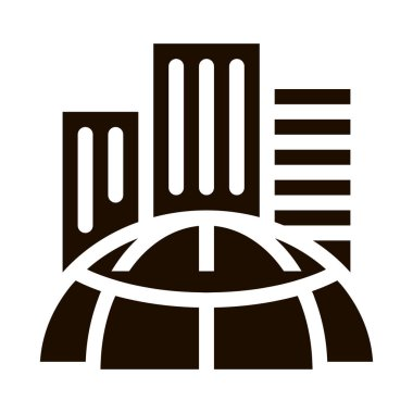 Skyscraper Earth Problem Vector Icon. Big City Town Building Environmental Problem, Industrial Pollution, Contamination Pictogram. Global Warming Contour Illustration icon