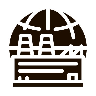 Industrial Factory Planet Vector Icon. Build Factory Plant Environmental Problem, Industrial Pollution Pictogram. Greenhouse Effect Global Warming Contour Illustration icon