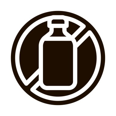 Allergen Free Sign Lactose Vector Icon. Allergen Free Beverage Product Pictogram. Crossed Out Mark Bottle With Dairy Cow Milk Healthy Produce. Monochrome Illustration icon