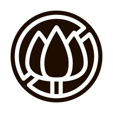 Allergen Free Sign Flower Vector Icon. Allergen Free Farina Pollen Pictogram. Crossed Out Mark Flower-stalk Healthy Produce. Black And White Contour Illustration icon