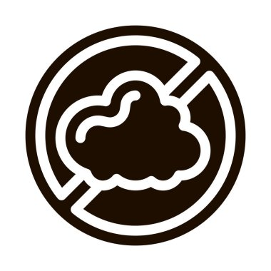 Allergen Free Sign Dust Vector Icon. Allergen Free Pictogram. Crossed Out Mark Cinder Cloud Healthy Nature Environment. Black And White Contour Illustration icon