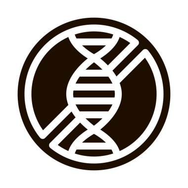 Allergen Free Sign Genom Vector Icon. Hereditary Trait Allergen Free Pictogram. Crossed Out Mark With Molecule Healthy. Designed Black And White Contour Illustration icon