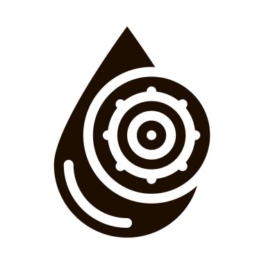 Liquid Drop With Germ Water Treatment glyph icon Sign . Unhealthy Microbe, Water Treatment Pictogram. Environmental Ecosystem Plumbing Industry Monochrome Illustration icon