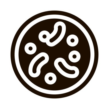 Illness Disease Bacteria Vector Icon. Unhealthy Bacteria Parasite In Flask Pictogram. Chemical Microbe Type Infection Microorganism Bacteriology Contour Monochrome Illustration icon