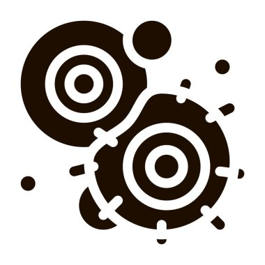 Cancerous Stem Cell Pathogen Element glyph icon Sign. Pathogen Bacteria Attack Pictogram. Chemical Microbe Type Infection Microorganism Contour Monochrome Illustration icon