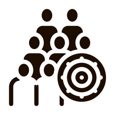 Bacteria Germ And People Vector Icon. Infection Micro Organism And Group Of Silhouette Pictogram. Microbe Type Virus Biology Microorganism Contour Monochrome Illustration icon