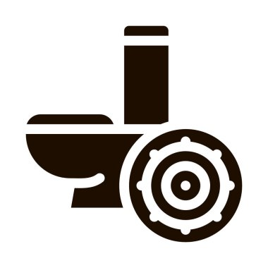 Bacteria Germ And Toilet Bowl Vector Sign Icon . Infection Micro Organism From Flush Toilet Pictogram. Microbe Type Virus Biology Microorganism Contour Monochrome Illustration icon
