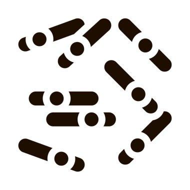 Microscopic Bacterium Sticks Vector Icon. Medical Dangerous Organism Bacterium Element Pictogram. Chemical Microbe Infection Microorganism Design Contour Monochrome Illustration icon