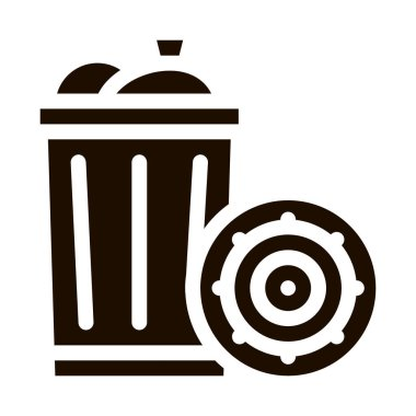 Infection Bacteria Germs In Trash Vector Sign Icon . Unhealthy Micro Organism From Trash Rubbish Pictogram. Microbe Type Virus Biology Microorganism Contour Monochrome Illustration icon