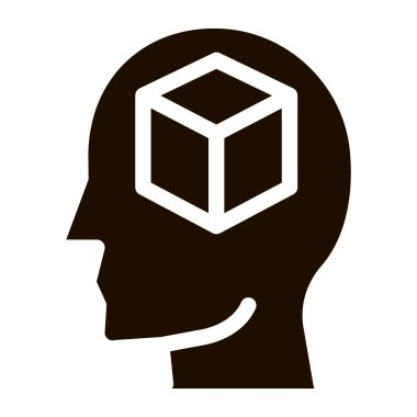 Cube Figure In Man Silhouette Mind glyph icon . Gear And Brain, Heart And Shield, Padlock And Coin Pictogram. Black And White Template Contour Illustration icon