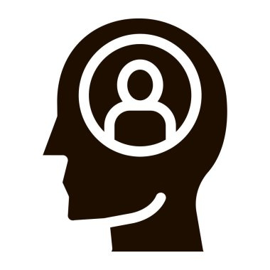 Person Avatar In Man Silhouette Mind glyph icon . Gear And Brain, Heart And Shield, Padlock And Coin Pictogram. Black And White Template Contour Illustration icon