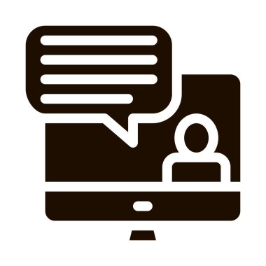 Computer Screen And Avatar Internet Discuss glyph icon . Business And Recruitment Candidate, Team Work And Discuss Pictogram. Monochrome Illustration icon