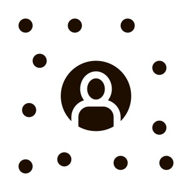 Business Networking And Man Silhouette glyph icon . Hunting Business People And Recruitment Candidate, Team Work And Partnership Pictogram. Monochrome Illustration icon
