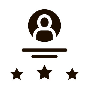 Human Silhouette Avatar And Stars Job glyph icon Icon . Job Hunting Business People And Recruitment Candidate, Team Work And Partnership Pictogram. Monochrome Illustration icon