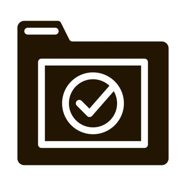 Computer Folder With Approved Mark glyph icon . Approved Sign On Document File And Hands, Monitor And Smartphone Display Pictogram. Monochrome Illustration icon