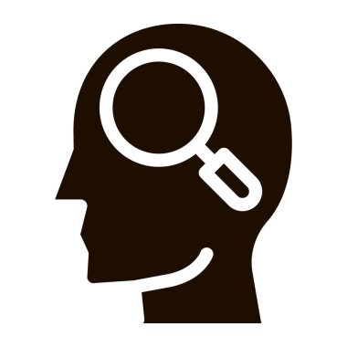 Magnifier Glass In Man Silhouette Mind glyph icon . Gear And Brain, Heart And Shield, Padlock And Coin Pictogram. Black And White Template Contour Illustration icon