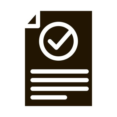 Document Text File With Approved Mark glyph icon . Approved Sign On Carton Box, Computer Monitor And Smartphone Display Pictogram. Monochrome Illustration icon
