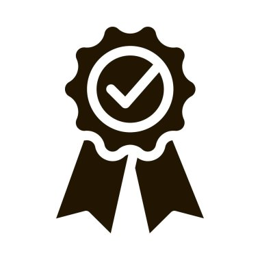 Medal Order With Ribbon Approved Mark glyph icon . Approved Sign On Carton Box, Computer Monitor And Smartphone Display Pictogram. Monochrome Illustration icon