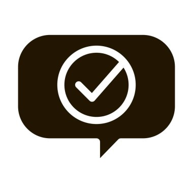 Quote Speech Frame With Approved Mark glyph icon . Approved Sign On Document File, Computer Monitor And Smartphone Display Pictogram. Monochrome Illustration icon