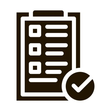 Tablet Clip With Approved Check List glyph icon . Approved Sign On Document File, Computer Monitor And Smartphone Display Pictogram. Monochrome Illustration icon