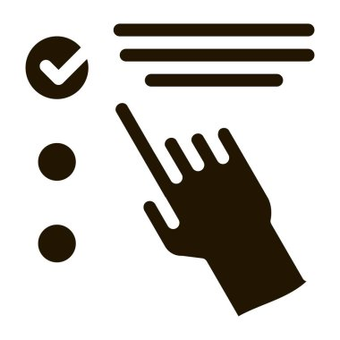 Hand Touch Check List Approved Mark glyph icon . Approved Sign On Document File, Protection Shield And Opened Carton Box Pictogram. Monochrome Illustration icon