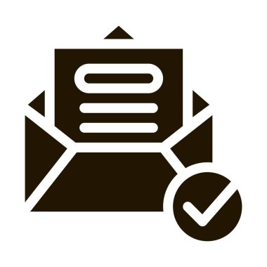 Envelope Message List And Approved Mark glyph icon . Approved Sign On Document File, Computer Monitor And Smartphone Display Pictogram. Monochrome Illustration icon