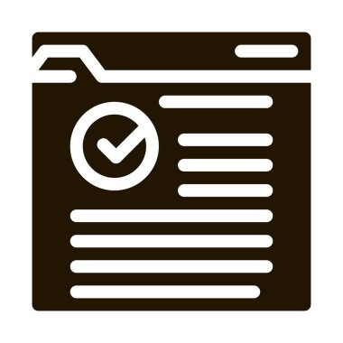 Internet Web Site With Approved Mark glyph icon . Approved Sign On Document File And Hands, Computer Monitor And Smartphone Display Pictogram. Monochrome Illustration icon