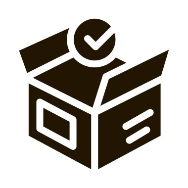 Opened Carton Box Approved Element glyph icon . Approved Sign On Document File And Hands, Computer Monitor And Smartphone Display Pictogram. Monochrome Illustration icon