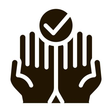 Hands Fingers Palms Up Approved Mark glyph icon . Approved Sign On Document File, Protection Shield And Opened Carton Box Pictogram. Monochrome Illustration icon