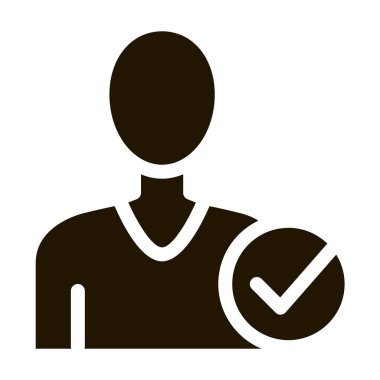 Character Silhouette Man Approved Mark glyph icon . Approved Sign On Document File, Protection Shield And Opened Carton Box Pictogram. Monochrome Illustration icon