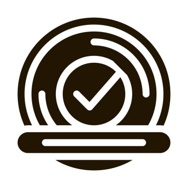 Approved Button With Text Element glyph icon . Approved Sign On Document File And Hands, Computer Monitor And Smartphone Display Pictogram. Monochrome Illustration icon