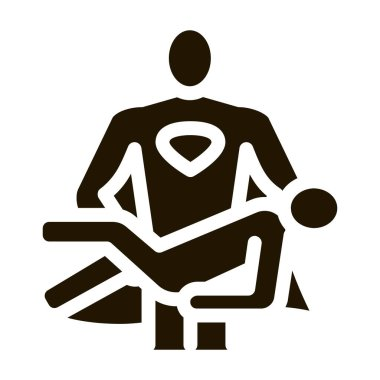 Hero Holds on Hands Human glyph icon vector. Hero Holds on Hands Human Sign. isolated symbol illustration icon