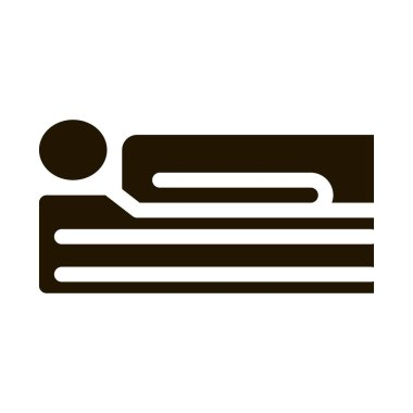Human Lying On Mattress glyph icon vector. Human Lying On Mattress Sign. isolated symbol illustration icon