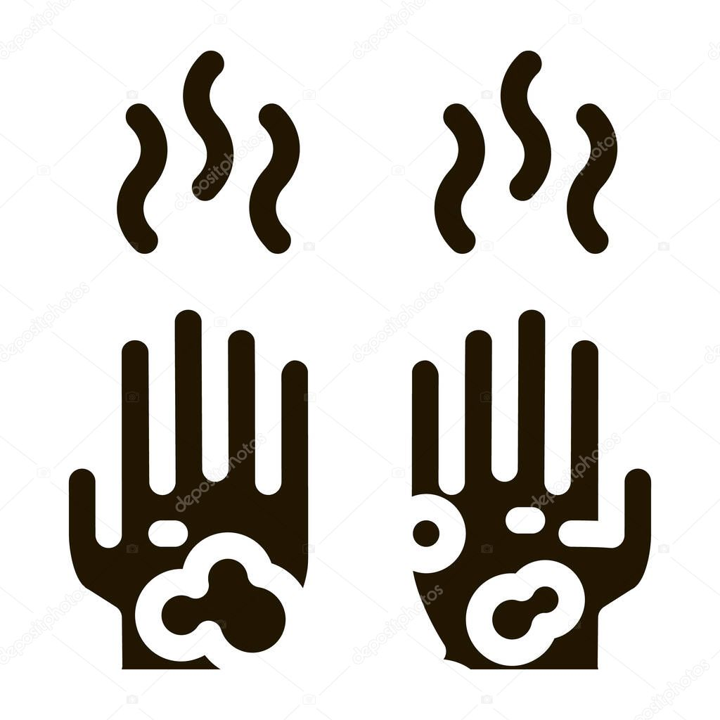 Dirty And Smelly Hands glyph icon vector icon
