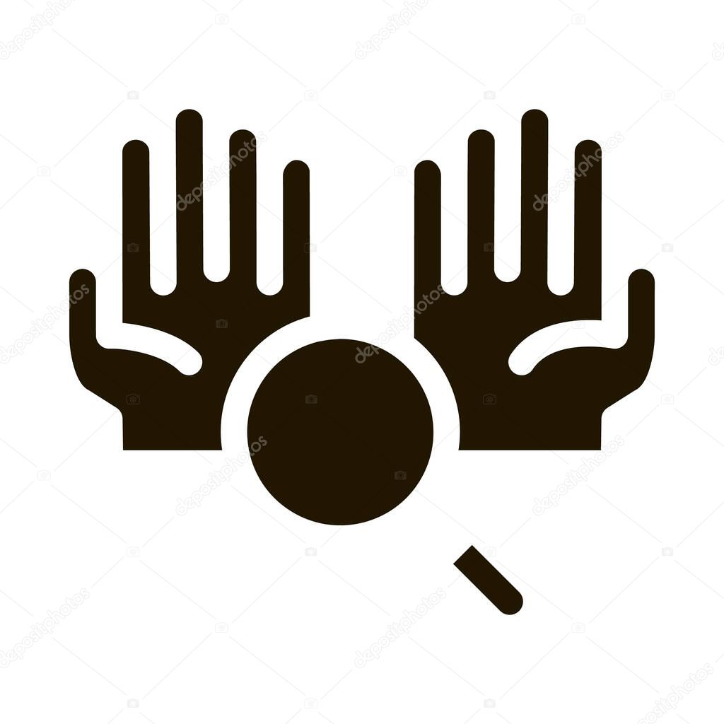 Hands And Magnifier glyph icon vector icon