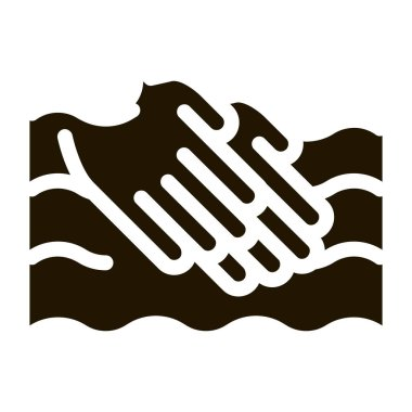 Hands Washing In Water glyph icon vector. Hands Washing In Water Sign. isolated symbol illustration icon