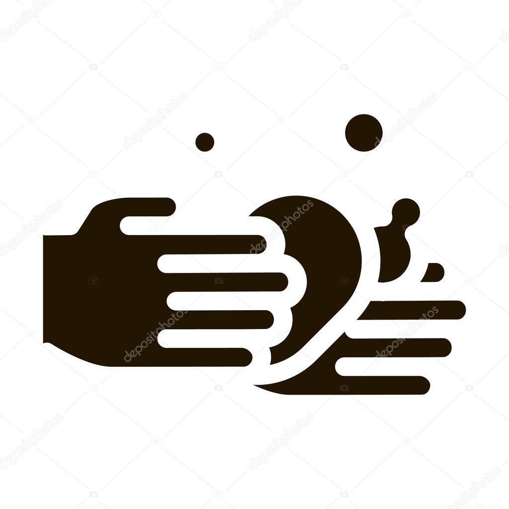 Hands Wash Liquid Soap glyph icon vector icon