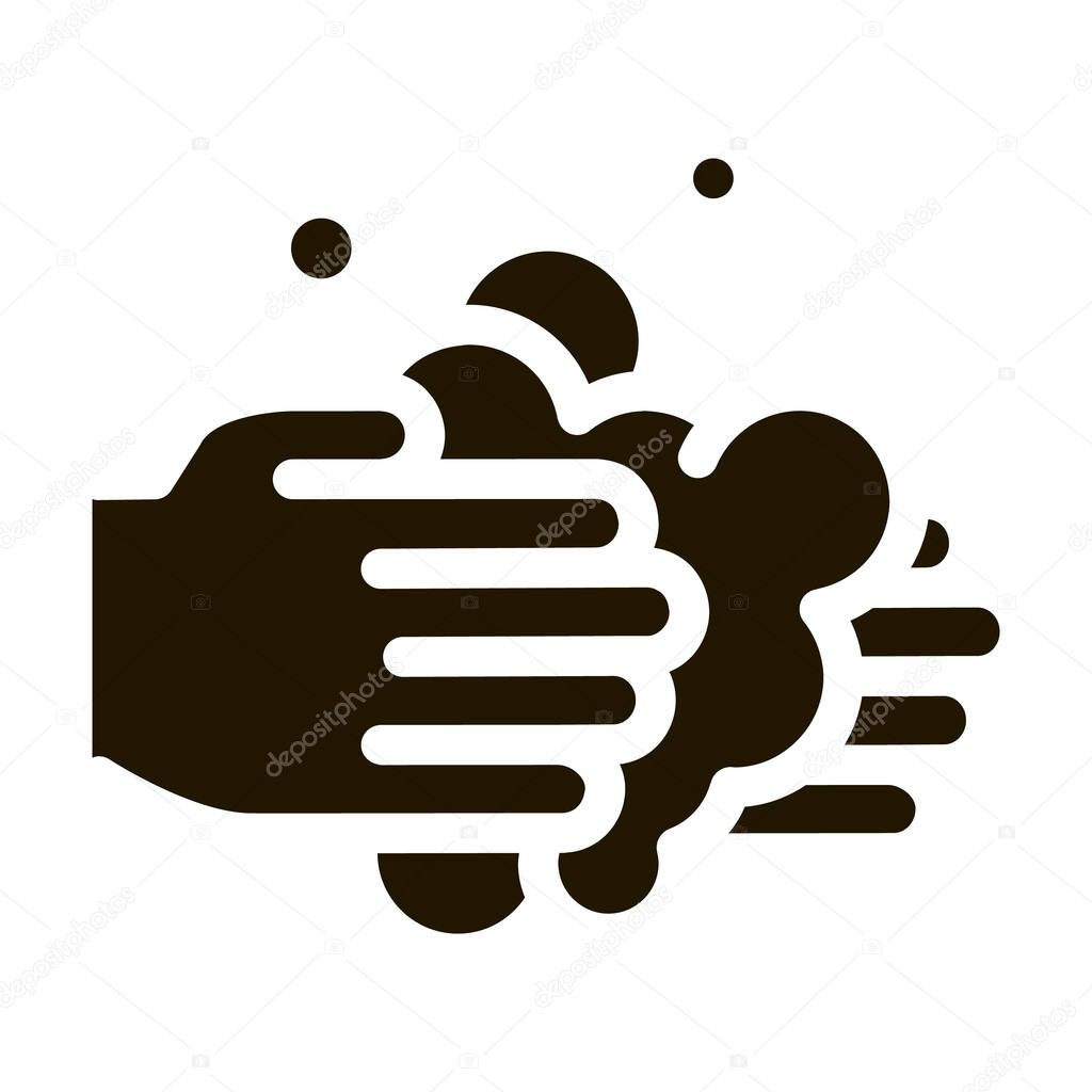 Hands Wash With Soap glyph icon vector icon