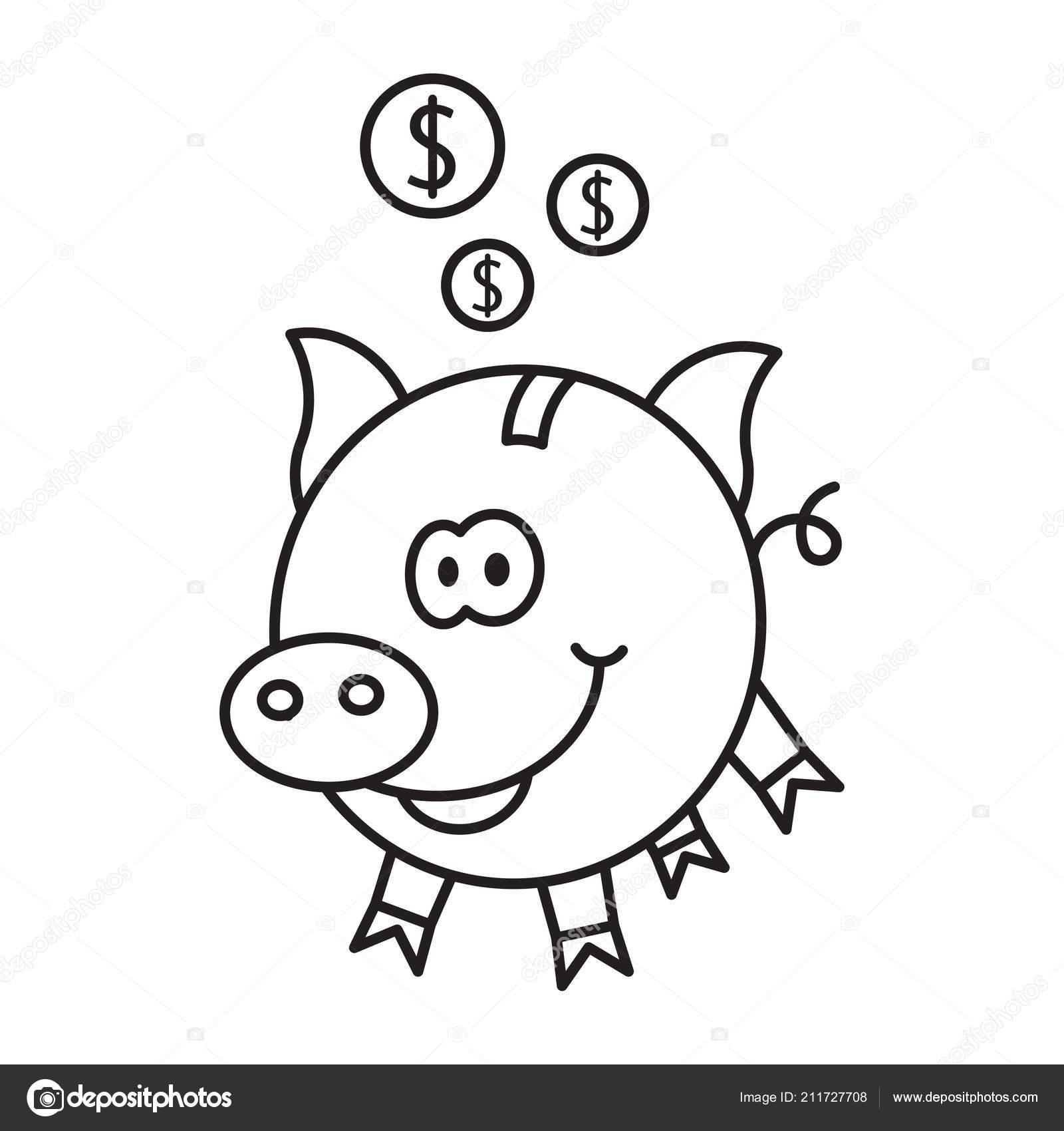 piggy bank coins stock vector template easy use stock vector