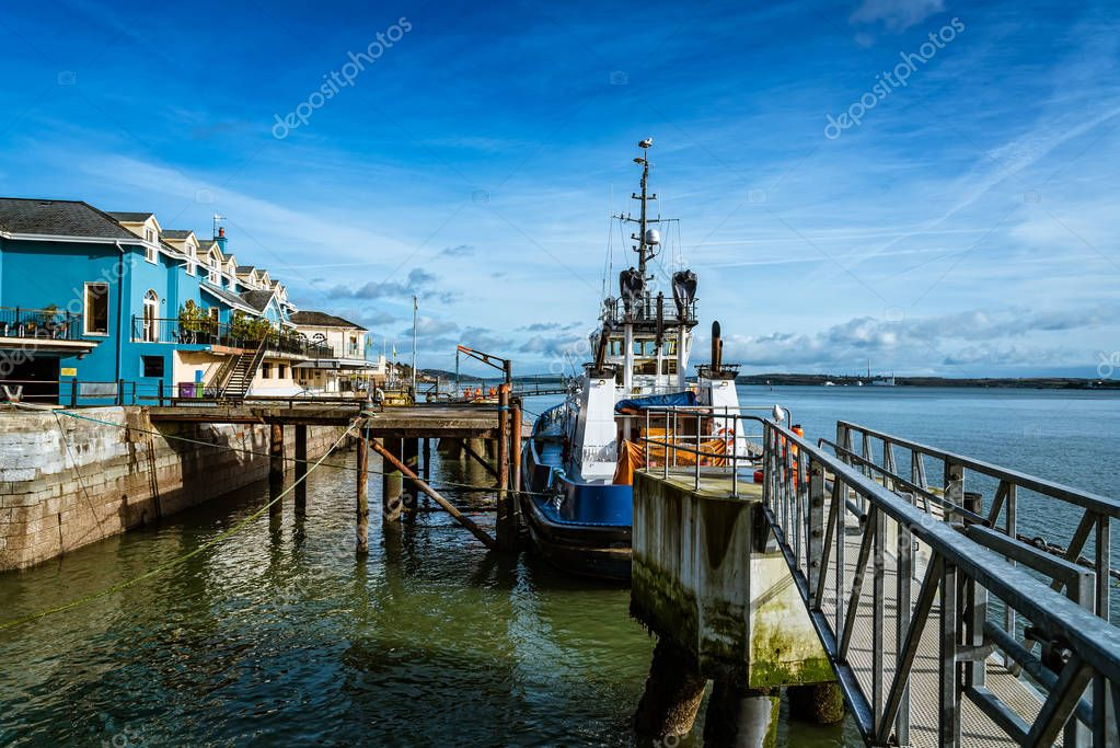 Tugboat moored in the harbour of Cobh