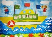 Děti cestují lodí v moři. Kresba dítěte