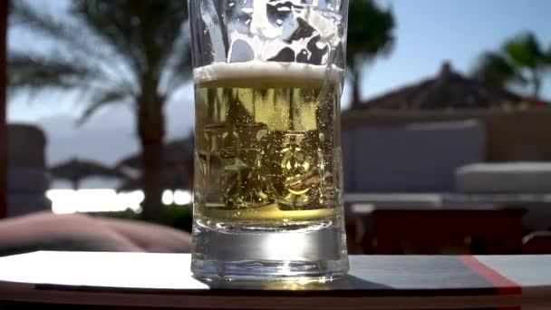 Ein Glas Bier mit Palmen und Meer im Hintergrund HD