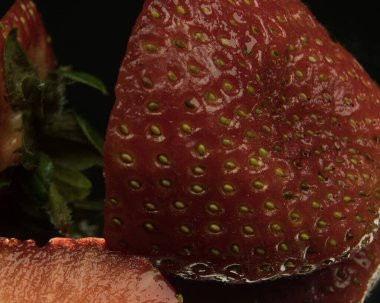 slices of strawberry background closeup